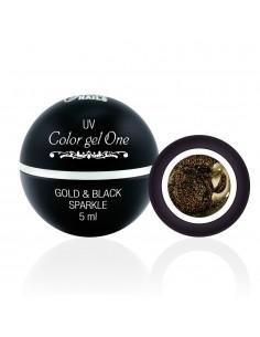 Color Gel One - Gold & Black Sparkle 5ML